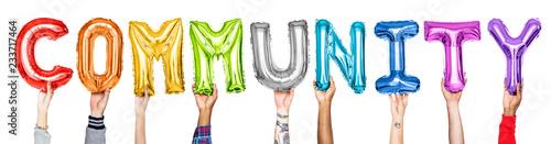Fotografia Rainbow alphabet balloons forming the word community