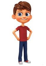 Cartoon Character Boy In Red T-shirt. 3d Rendering. Illustration For Advertising.