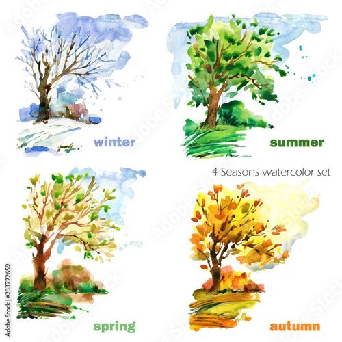 four seasons watercolor illustration set Tableau sur Toile
