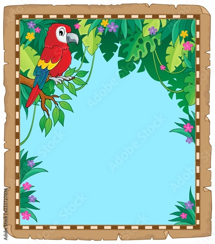 Parchment with parrot in jungle
