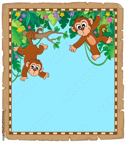 Parchment with two monkeys