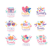 Friends Forever Logo Design Set, Happy Friendship Day Creative Badges Can Be Used For Banner, Poster, Greeting Card, T-shirt Vector Illustration