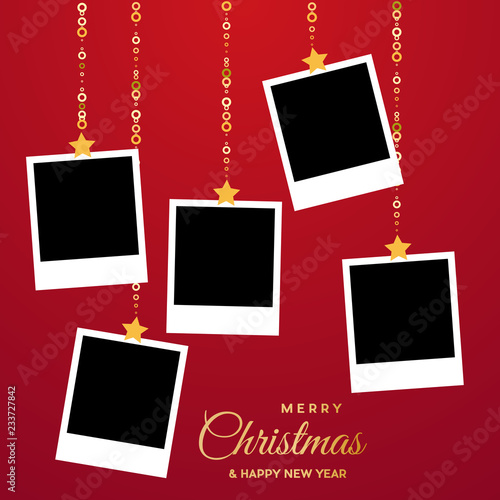Obraz Christmas background with photos, blank frames. Vector template with pictures to insert - fototapety do salonu