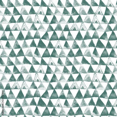 zielony-tribal-trojkaty-akwarela-bezszwowe-wzor