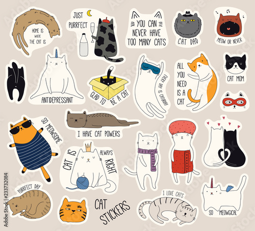 Papiers peints Des Illustrations Set of cute funny stickers with color doodles of different cats with quotes. Isolated objects. Hand drawn vector illustration. Line drawing. Design concept for print, logo, icon, badge, label, patch.
