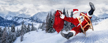 Late Santa Claus In A Hurry With Sleigh Traditional Red White Costume And Big Gift Bag