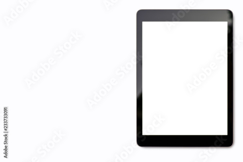 Fotografia  Digital tablet mock up on white background with copy space and Clipping path on blank screen easy replace you design