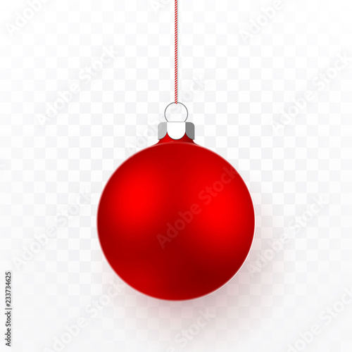 In de dag Bol Red Christmas ball. Xmas glass ball on transparent background. Holiday decoration template. Vector illustration