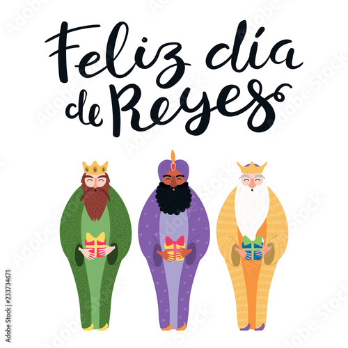Valokuva Hand drawn vector illustration of three kings with gifts, Spanish quote Feliz Dia de Reyes, Happy Kings Day