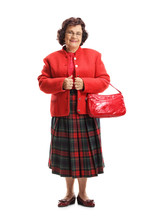 Elderly Woman With A Red Purse