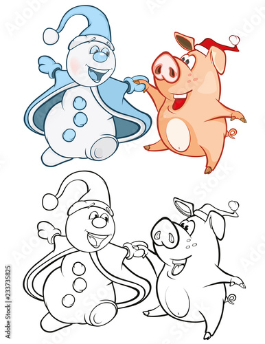 Vector Illustration of a Cute Pig and a Snowman. Coloring Book Cartoon