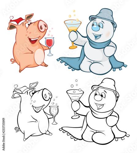 Tuinposter Babykamer Vector Illustration of a Cute Pig and a Snowman. Coloring Book Cartoon Безымянный-4