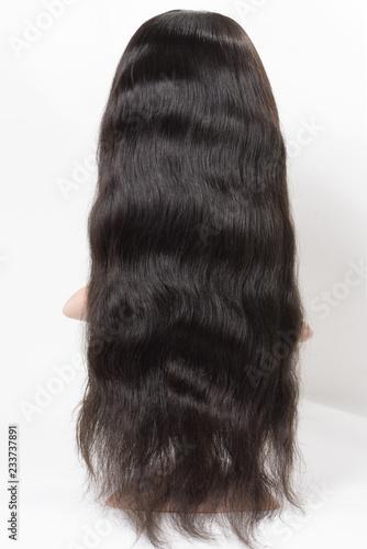 Obraz na plátně Long body wavy black human hair weaves extensions wig