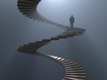 Man Climbs The Spiral Staircase