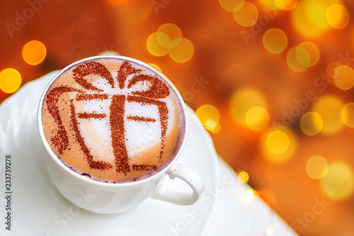 Fotografie, Tablou Christmas cappuccino with a gift picture