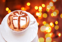 Christmas Cappuccino With A Gift Picture