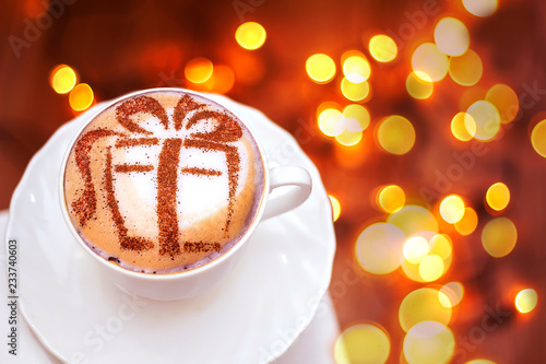 Christmas cappuccino with a gift picture Fototapet