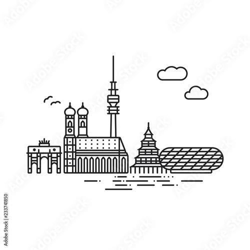 Fototapeta premium Linia ikona stylu ilustracji wektorowych panoramę Monachium