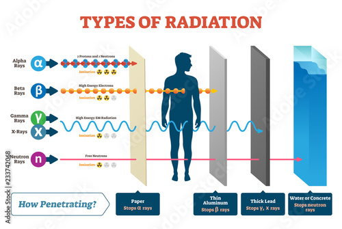 Fotografía Types of radiation vector illustration diagram and labeled example scheme