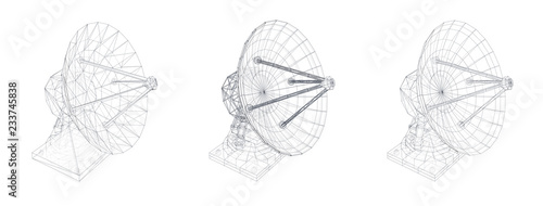 vector set. Radio antenna. astronomy and space research Fototapet