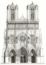 Ancient Isolated Typical Gothic Facade Of A French Cathedral Rich Of Detailed Sculptures And Spiers. Old View Of Reims, France. By Unidentified Author Published On Magasin Pittoresque Paris 1839