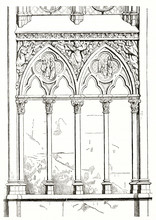 Old Engraved Reproduction Of Pointed Arched Windows And Detailed Bas Reliefs In The Sainte-Chapelle (Holy Chapel) Paris. By Unidentified Author Published On Magasin Pittoresque Paris 1839
