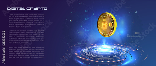 Fotografía  Bitcoin conceptual background with blue glowing electric lights in style hud