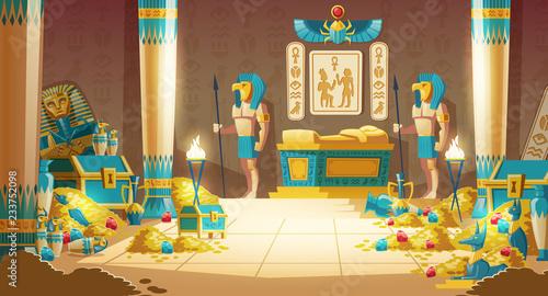 Fotografia Egypt pharaoh tomb or treasury cartoon vector with warriors in masks, armed spea