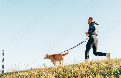 Morning Canicross exercise. Man runs with his beagle dog.