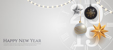 Happy New Year 2019 Banner Template With Copy Space. Hanging Christmas Toys And Garlands With Light Bulbs On Wihte Background. Winter Holiday Card Concept. Vector Eps 10.