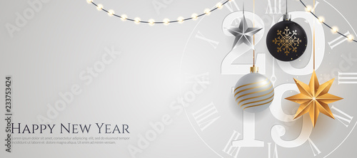 Obraz Happy new year 2019 banner template with copy space. Hanging Christmas toys and garlands with light bulbs on wihte background. Winter Holiday card concept. Vector eps 10. - fototapety do salonu