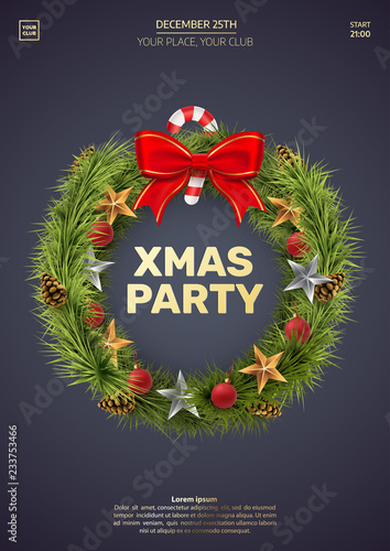 Christmas Party Invitation Template Christmas Wreath Isolated On