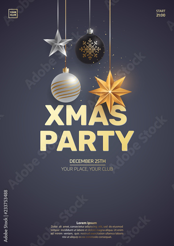 Fototapeta Christmas Party Invitation Design Hanging Christmas Toys On Dark Background Xmas Greeting Card Concept Traditional Winter Holidays