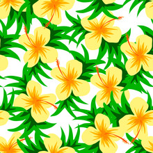 Beautiful Vector Flower Pattern With Leaf On White Background