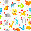 Alphabet animals and letters study material for children vector. U for unicorn, dog and hedgehog, mouse and cat, fish and turtle, snail and alligator.