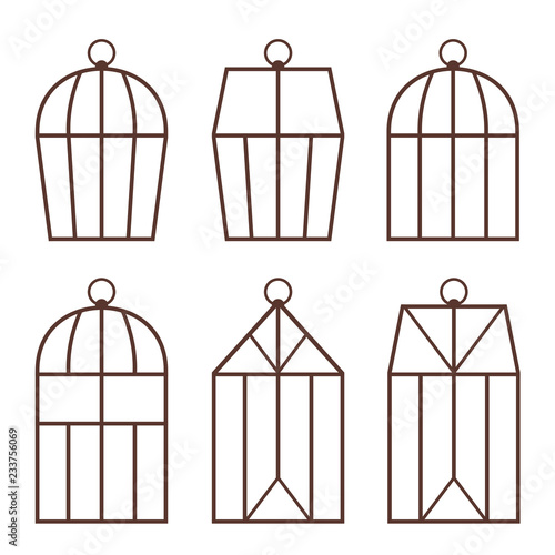 Photo  set of flat silhouettes of cages and greenhouses for decoration