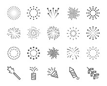Firework Line Icon Set, Happy ...