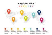 World Map Element  Infographic , Infochart Business Information Icon