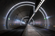 Cyclists In A Tunnel For Publi...