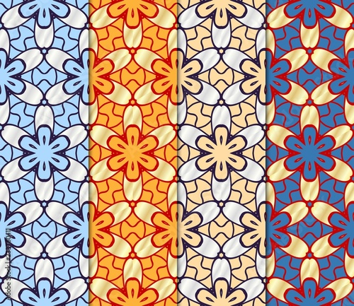 Printed kitchen splashbacks Moroccan Tiles Set of Beautiful geometric ornament. seamless art-deco pattern. vector illustration. for design, wallpaper, invitation.