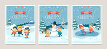 Set Of Christmas Greeting Cards With Children Playing Outdoors In The Snow, Different Scenes. Vector Illustration Design Template