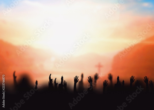 Worship concept: worship and praise God Canvas Print