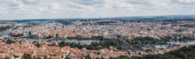 Panoramic Aerial View Of Prague Rooftops And Skyline And Castle From The Viewing Platform At The Top Of Petrin Observation Tower, Prague, Czech Republic.