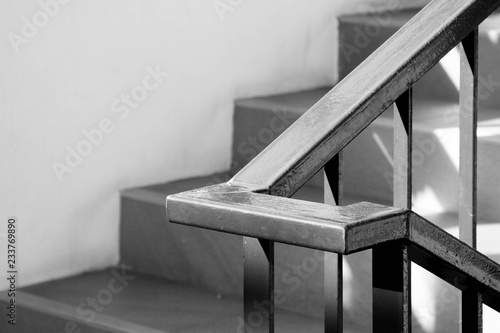 closeup steel staircase in residential house - monochrome Wallpaper Mural
