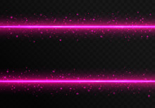 Bright Pink Laser Stripes With Colorful Sparkles On A Transparent Background. Christmas Vector Illustration