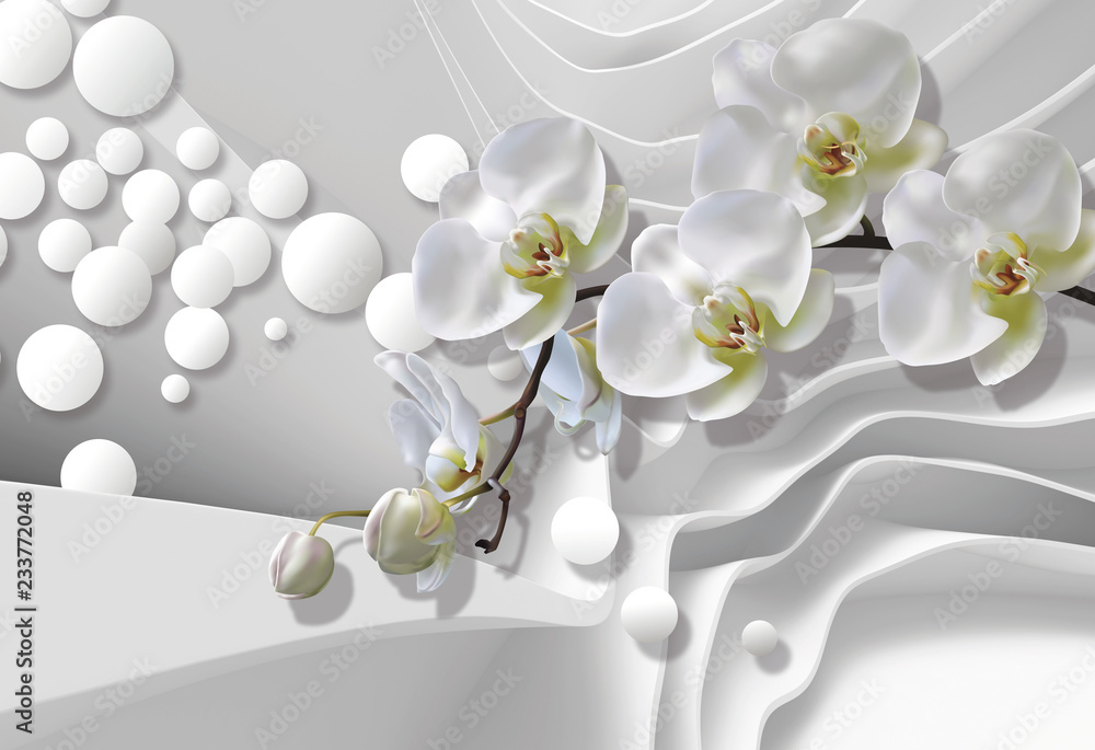 Fototapety, obrazy: Bouquet of orchids on a background of white abstract architecture bring. Celebration 3d background.