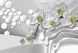 Bouquet of orchids on a background of white abstract architecture bring. Celebration 3d background.