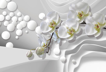 FototapetaBouquet of orchids on a background of white abstract architecture bring. Celebration 3d background.