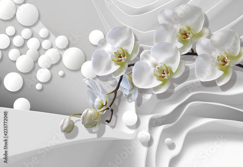 Fototapeta Bouquet of orchids on a background of white abstract architecture bring. Celebration 3d background. obraz