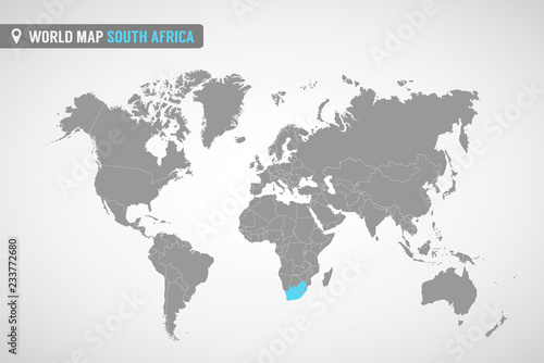 World map with the identication of South Africa. Map of South Africa ...
